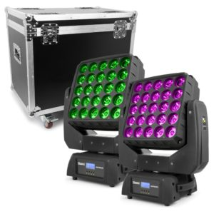 led moving head set in flightcase