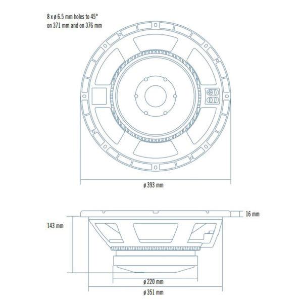"""RCF 15"""" L15P400 bass speaker cone"""