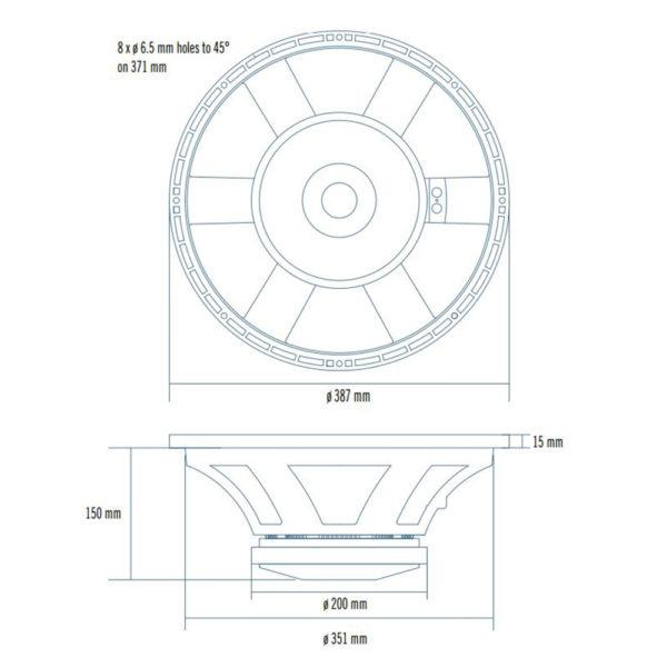 "RCF 15"" L15P530 mid-bass speaker cone"