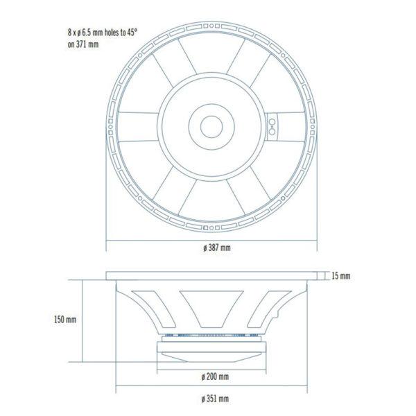 "RCF 15"" L15P540 mid-bass speaker cone"