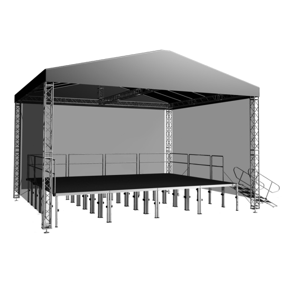 Roof Lighting Concept In Basic Form: 10m X 8m Stage Truss Gable Roof System Inc Canopy And
