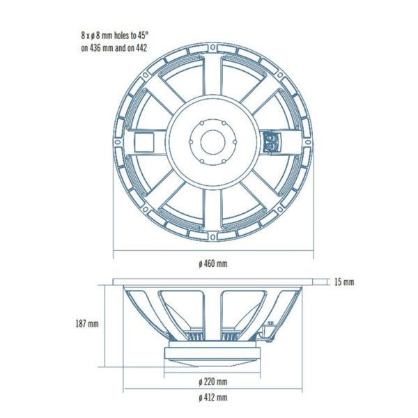 """RCF 18"""" L18P300 bass speaker cone"""