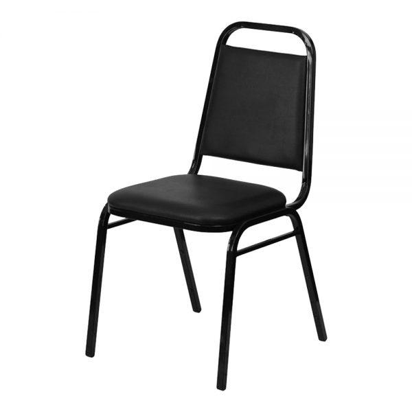 Black Vinyl Stacking Chair
