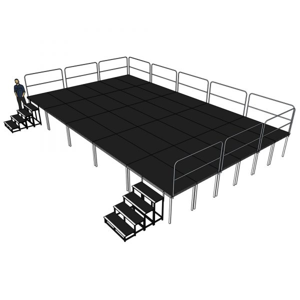 10m x 6m x 1000mm Portable Stage System with Railings