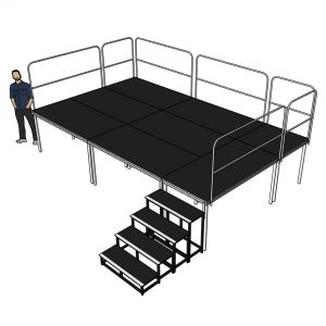 Portable Stage with Railings 5m x 3m - 1m High