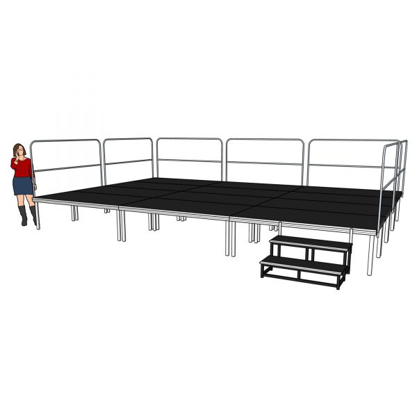 Portable Stage 6m x 4m x 600mm with Railings