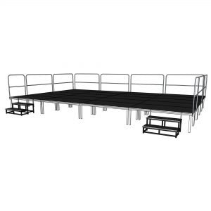 8x5m portable stage system with steps and safety rails