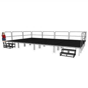 8mx5m x 600mm Stage Deck System with Railings